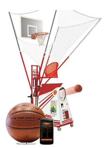 State-of-the-art practice system for basketball courts